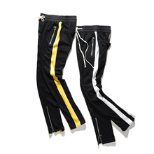 High Street Striped Zipper Sling Casual Pants Hiphop Urban Clothing Justin Biebers Tyga Europe and the United States trend(China)