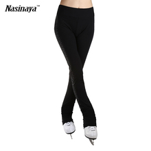 Customized ice skating long pants Figure Skating Costume Trousers Adult Child Girl Competition Performance 2 Sides Rhinestone