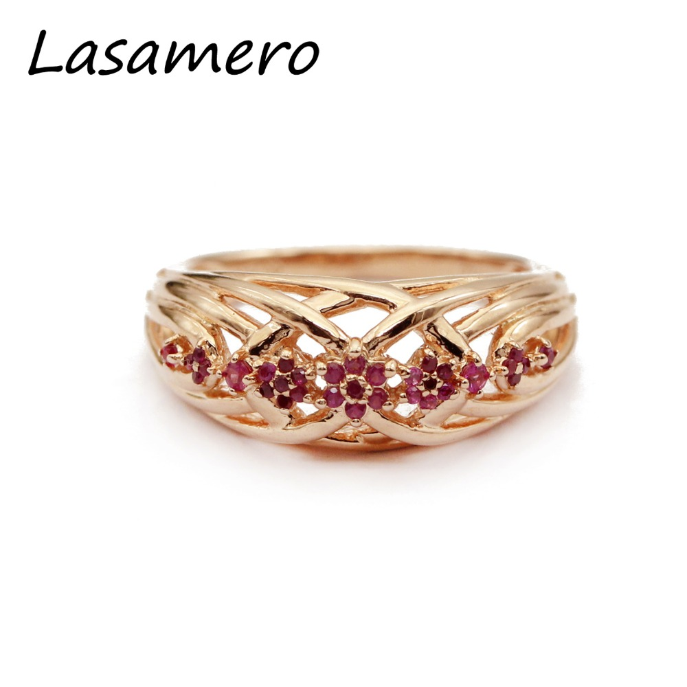 LASAMERO Rings for Women Round Cut Natural Ruby Rings 925 Silver Engagement Wedding Rings