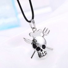 10pcs/lot Wholesale Antique Silver Skull Necklace Jewelry One Piece Necklace Anime Pendant Necklace Collier for Men