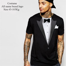 2017 fashion hot sell Tuxedo Costume Bow Tie Men's T-Shirt 100% cotton skam pokemon mma for twin peaks vespa tops(China)