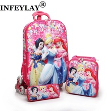 HOT 3D stereo anime trolley case Cute kids Travel suitcase girl cartoon Pull rod box child Lunch bag pencil box Christmas gift(China)