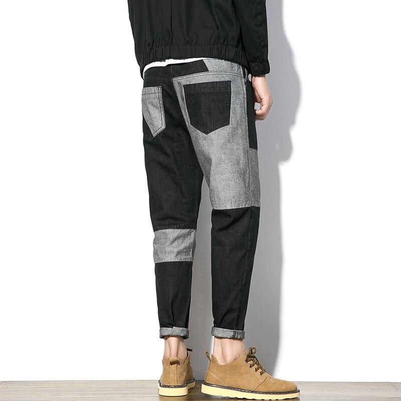 Autumn New Jeans Men Fashion 2017 Mid Waist Casual Denim Pants Men Personality Patchwork Color Black Plus Size Mens TrousersÎäåæäà è àêñåññóàðû<br><br>