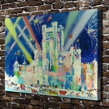 A1922 LeRoy Neiman Abstract City People Night ,HD Canvas Print Home decoration Living Room bedroom  Wall  pictures Art painting