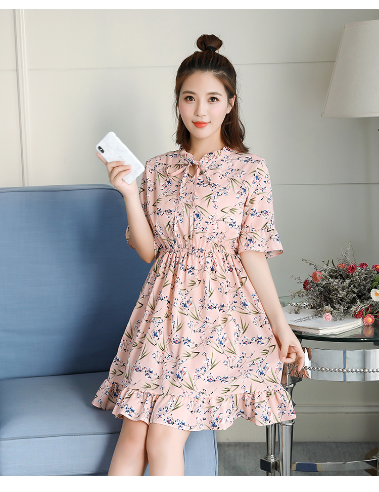 2018 Free Shipping New Fashion Floral Chiffon Summer Dresses Sweet Thin Word Slim Women Work Wear Print Dress Casual Cute Hot 5