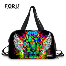 FORUDESIGNS Dazzle Colur Male Luggage Bag Tiger Leopard Pattern Duffle Bag,New Style Shoe Bag Cotton Travel Bag 3D Lion Printed