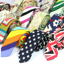 New Floral Print Linnen and Cotton Skinny Ties for Men 5.5 width Goom Slim Neckties High Quality Adult Neck Tie Free Shipping(China)
