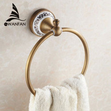 Towel Rings Wall Mounted Towel Holder Towel Ring Solid Brass Construction Antique Bronze Finish Bathroom Accessories HJ-1808(China)