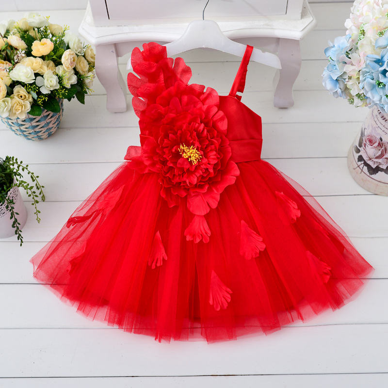 2017 new girl dress children summer party girl princess dress wedding dress large flower shoulder 4 colors<br><br>Aliexpress