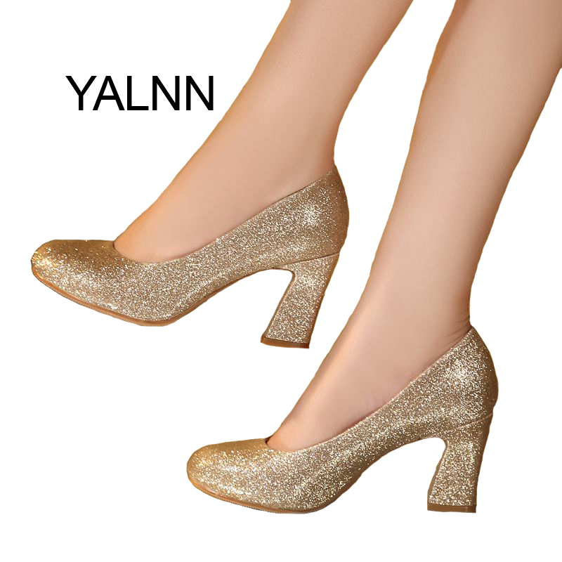 YALNN Gold Women Wedding Shoes 7cm New Fashion High Heels Shoes Party Shoes Pumps for Women<br>