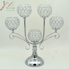 New 61cm height 5-arms metal candelabras shiny silver plated wedding centerpiece candle holder event candelabrum 10 PCS/LOT(China)