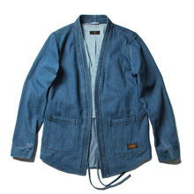 2017 2018 fall winter hip hop japanese kimono style unisex men open stitch vintage denim jacket Promotion(China)
