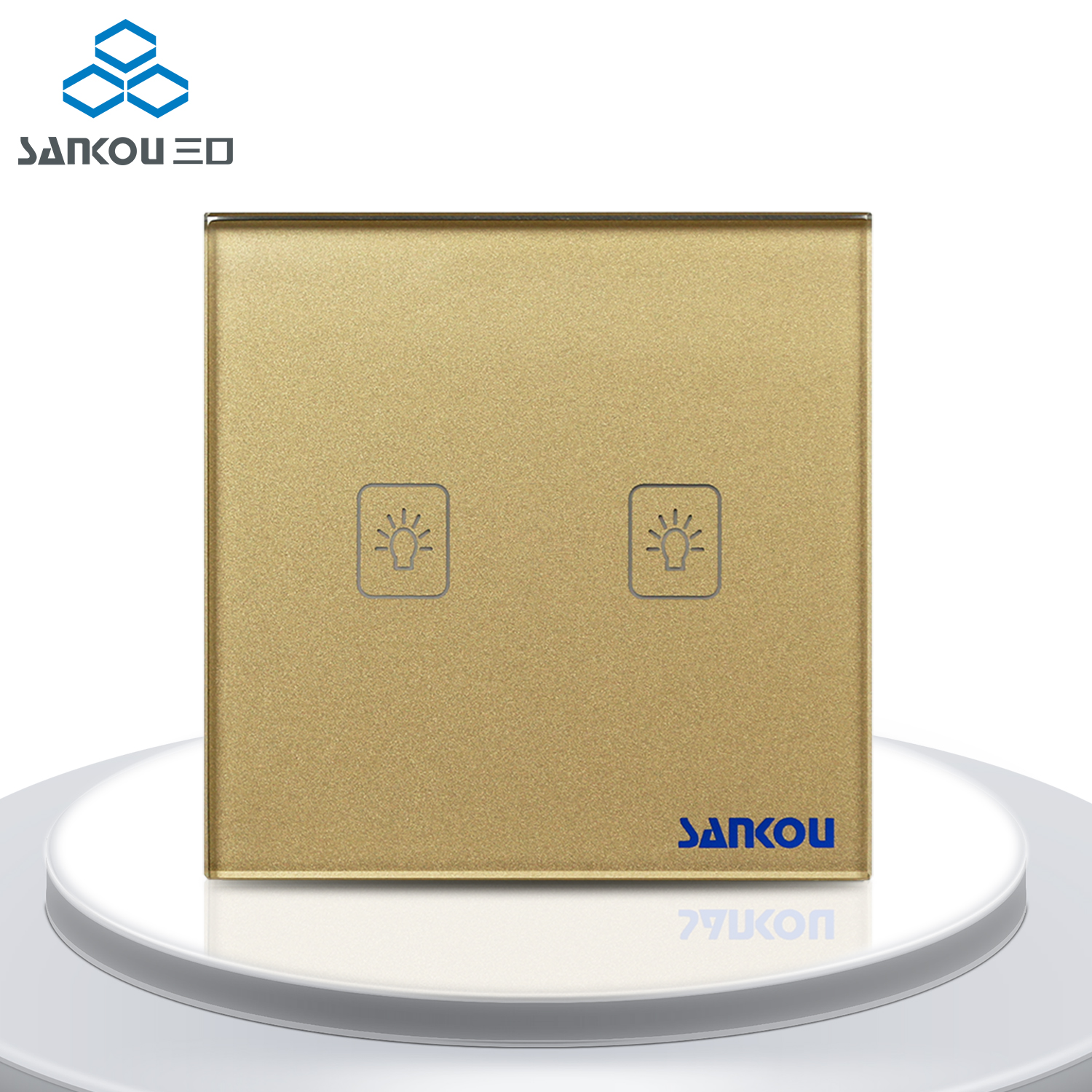 Manufacturer 2Gang1Way Remote Wall Touch Switches 220 Luxury Golden Crystal Glass+LED UK Standard Light Touch Screen<br>