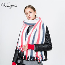 Voneyesa New Colorful Striped Winter Scarf Women Autumn Plaid Pashmina Shawls Winter WarmTassels Cashmere Scarves Hijab ROZ1732(China)