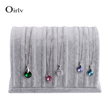 Oirlv free shipping bevel shape velvet fabric jewelry display stand for pendant charms bracelet bangle chain hanger rack(China)