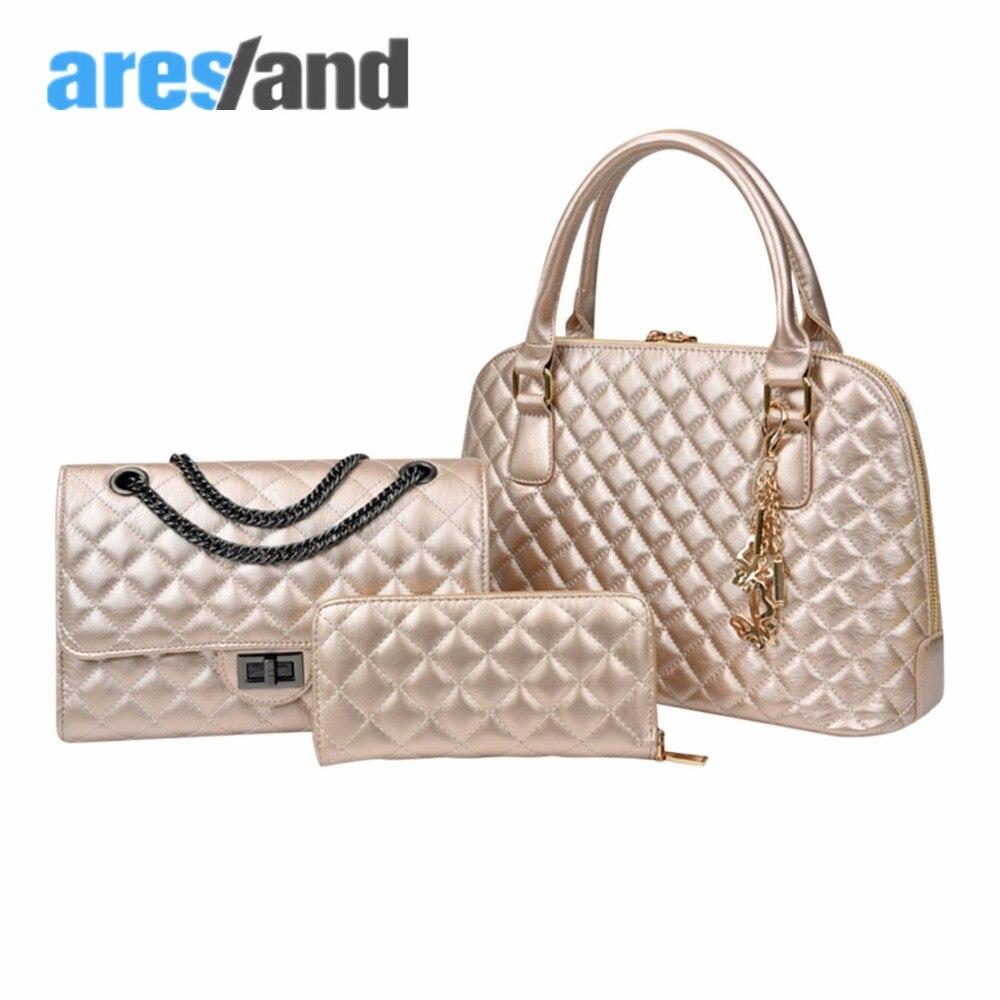 Aresland 3 Piece/lot  fashion  large womens tote bags Set  Chain  women shoulder Crossbody Handbag messenger Bag <br>