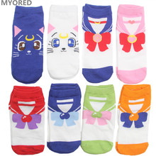 MYORED female cartoon sailor moon ankle socks women cotton invisible bow tie short sock girls lady cute cat animal sock slippers(China)