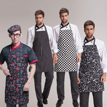 Adult Male Black Stripe Bib Apron Chef Waiter Kitchen Cooking Pockets Women Apron Fashion Polyester(China)