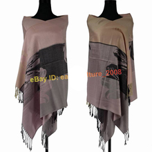 Free Shipping!!! Hot Sale Elegant Women's Lily Flower 100% Pashmina Shawl Wraps Scarf