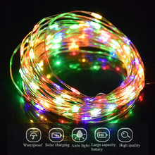 Solar Christmas Lights Copper Wire LED String Fairy Lights With Solar Panel Lamp luminaria For Garden Lighitng Decoration