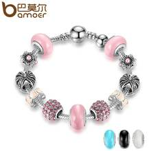 Buy BAMOER 3 colour High Silver Color Charm Bracelet & Pink Murano Beads CZ Bracelets & Bangles Jewelry Accessories PA1901 for $3.99 in AliExpress store