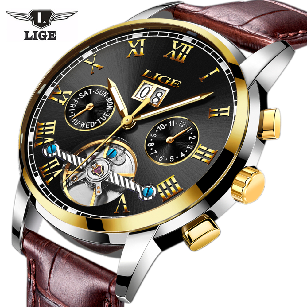 LIGE Fashion Mens Watch Leather Sports Watches Mens Automatic Mechanical Wristwatch Male Date Watch Gifts<br>