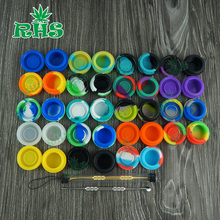 7ml Cheap wholesale silicone containers jars for wax/oil for tobacco pipe glass smoking water pipe 1000pcs free shipping(China)