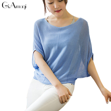 Women Knitting Top Bat Sleeves Off Shoulder Tshirt Sexy Loose Slash Neck Tops Femme T Shirts Plus Size(China)