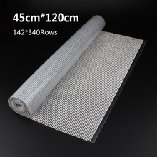 142X340Rows SS8 Diamond Hotfix Rhinestone Mesh Banding Chain with  silver Aluminum base crystal  trim mesh 1.2m for garment