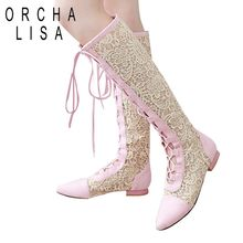 ORCHA LISA New arrive Women's cut-outs Fashion shoes Knitted line Gauze boots High-leg boots Summer boots Pointed toe Lace A393(China)