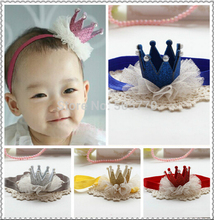 floral child baby girls princess infant hair bands head wraps chiffon tulle lace crown flower thin elastic tiara crown headband