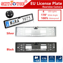 Universal CCD auto rearview camera European License Plate Frame Car Camera 4 LED lights car reversing camera EU backup camera(China)