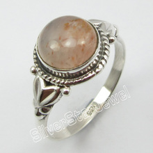 Silver Natural ORANGE AVENTURINE RING SIZE 9.5 ! Fine Jewelry Store(China)