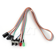 "Newest Hot PC Case Red Green LED Lamp ATX Power Supply Reset HDD Switch Lead 20""for PC Motherboard cable(China)"