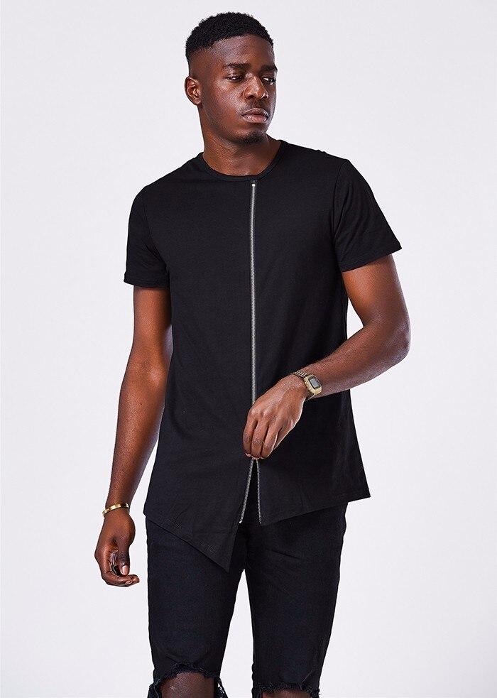 Moomphya Fashion extend hip hop street t shirt swag Hem t shirt men Stylish Mid zip design men t shirt