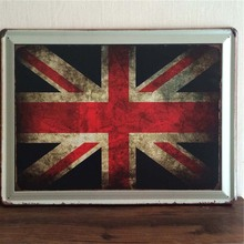 Lager Union Jack Flag Vintage Cars Metal Signs Decorative Tin Plates Wall Decor Plaque 30x40cm