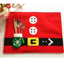 2Pcs/Lot Christmas Stockings Placemats Knife and Fork Mat Christmas Decorations for Home Feliz Navidad Craft Supplies