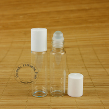 50pcs/Lot Promotion Glass 10ml Perfume Bottle White Lid 1/3OZ Essential Oil Container Women Cosmetic Pot Refillable Roll On Jar