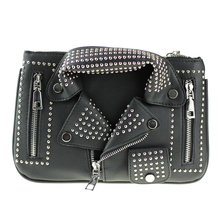 2017 New Rock Clutch Bags for Women Black Leather Handbag Crossbody Bag Fashion Rivet Motorcycle Shoulder Clutch Bag with Chain