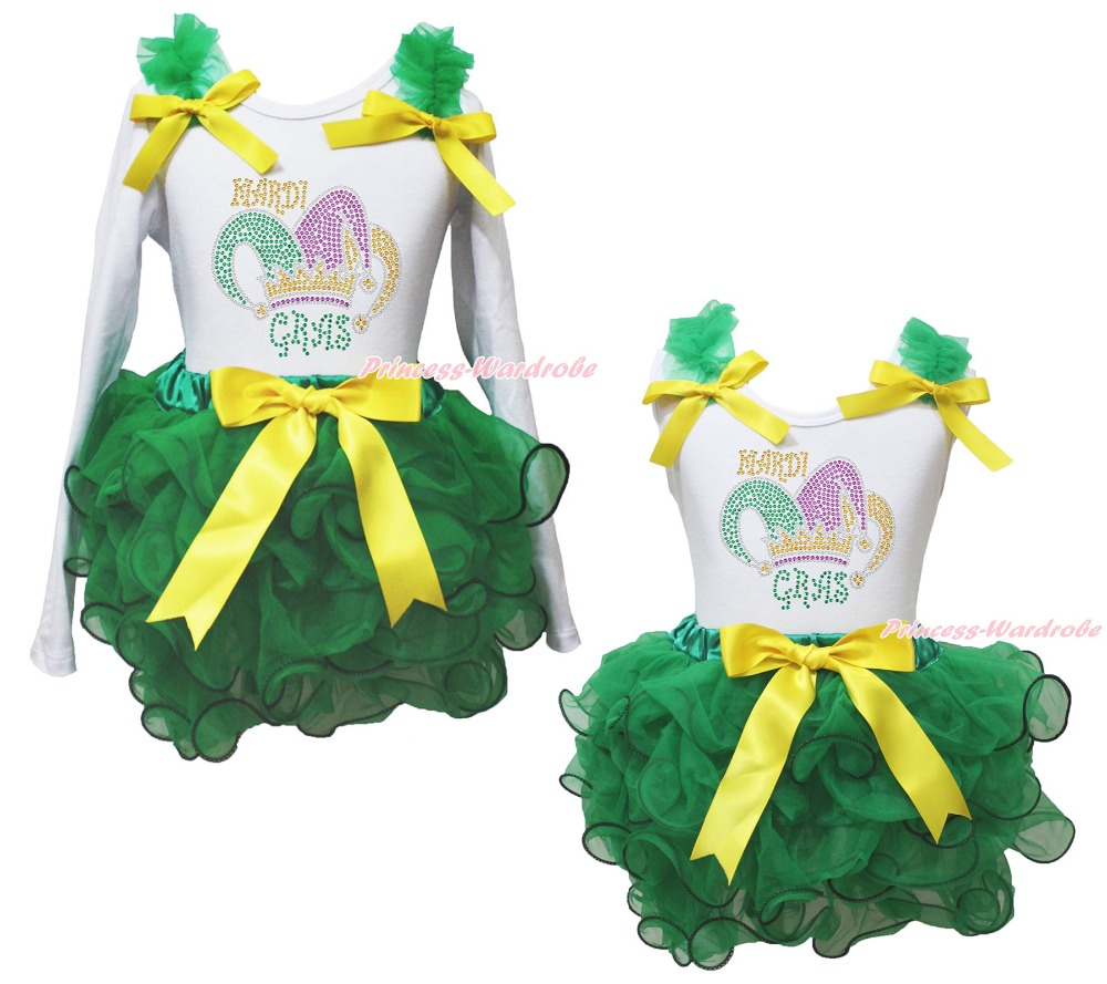 Clown Hat Mardi Gras Carnival White Top Green Girl Petal Pettiskirt Outfit NB-8Y<br>