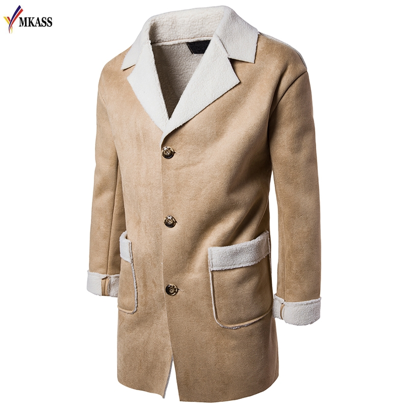 2017 Men's Autumn Winter Wool Trench Coat Fashion Fur Lapel Long Paragraph Slim Fit Men Jackets Mens Outwear casaco masculino