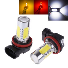 2Pcs Xenon White H8 lamp H11 COB LED Bulb Car Auto Light Source Projector DRL Driving Fog Headlight Lamp 12V DC(China)