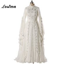 Buy Muslim/Kaftan Wedding Dress 2017 Wedding Gowns Hijab DuBai Bridal Dresses Long Sleeve vestido de noiva Free for $249.06 in AliExpress store