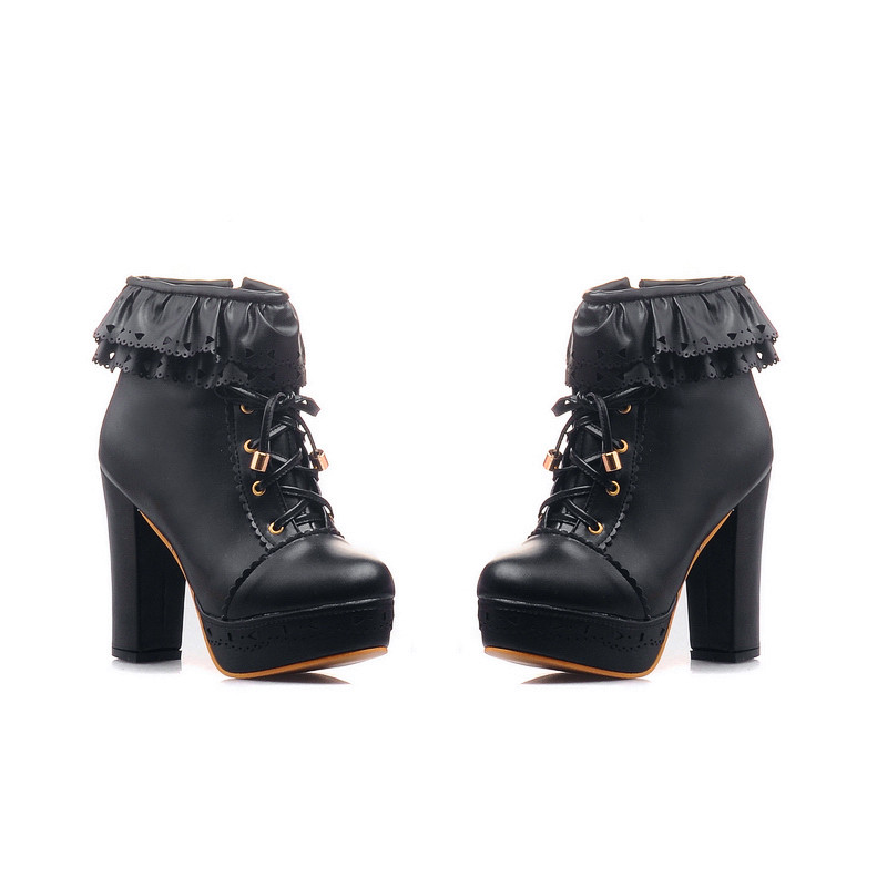 Womens Office Party Sweet Lolita Platform Chunky High Heel PU Lace up Black Boots 9 B (M) US<br>