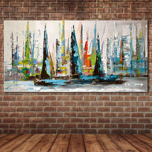 Frameless Palette Knife Painting Landscape Heavy Texture Colorful Sailing Boat Oil Painting Canvas Wall Art Home Decoration