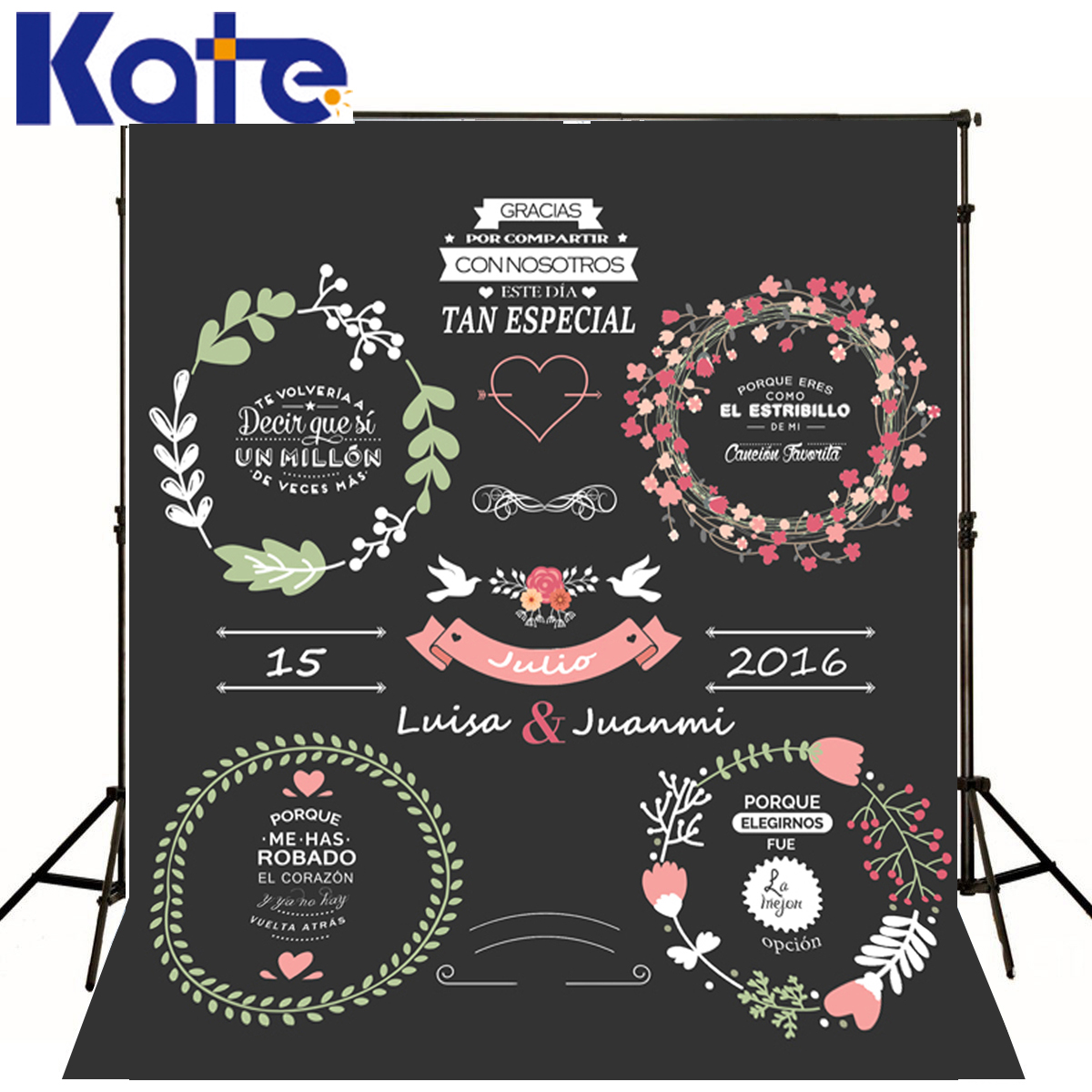 Kate Custom Blackboard Background Photography For Wedding Flower Woven Straw Hat Customise size made fotostudio photocall<br>