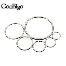 "10pcs Inner Dia. 5/8"" ~ 2-1/2"" Loose Leaf Book Binder Hinge Snap O Ring Locking Keychain Metal Craft Parts 6 sizePick #FLQ075"