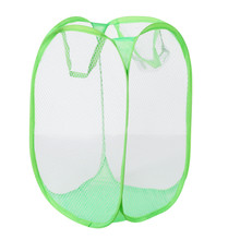 New Qualified Storage bag Foldable Pop Up Washing Laundry Basket Bag Hamper Mesh Storage Pueple Storage Container(China)