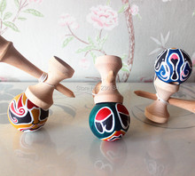 Factory Wholesale diy Kendama Japanese Traditional Wooden Toy Sword Jade Fully Painted Kendama Ball 50pcs