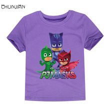 CHUNJIAN fashion cotton kids hot selling summer t shirts children short sleeve pjmasks boys superhero 12colors tees for 2-14T